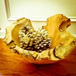 This is my favorite driftwood bowl, which I fill with different items throughout the year.